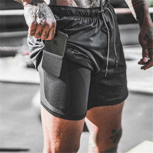 Men's 2 in 1 quick drying Training Shorts