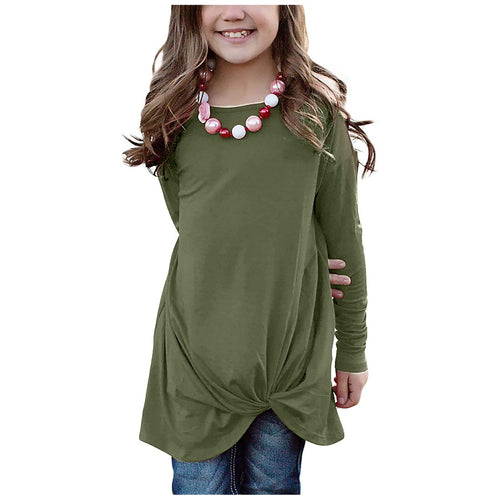 Girls Long Sleeve Twist-Front Tee (Multiple Colors Available)