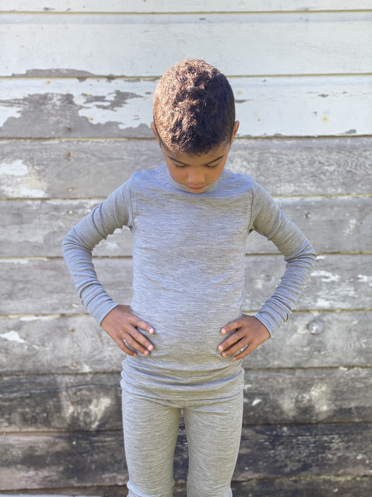 THERMAL UNDERLAYER (TOP) CHILDREN UP TO AGE 12 Simply Merino Clothing Co Heather Grey (Light Grey) 2T