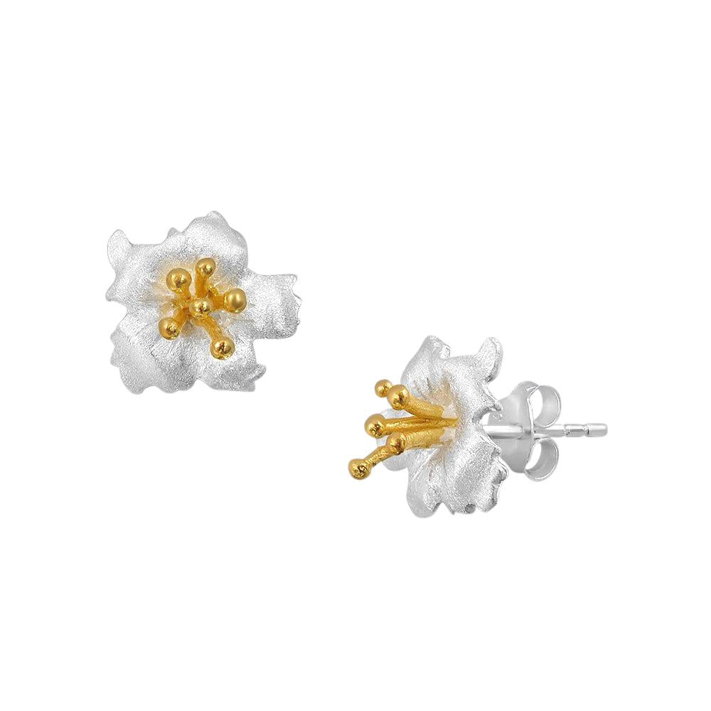 Dual Tone 18K Gold Plated Flower Studs