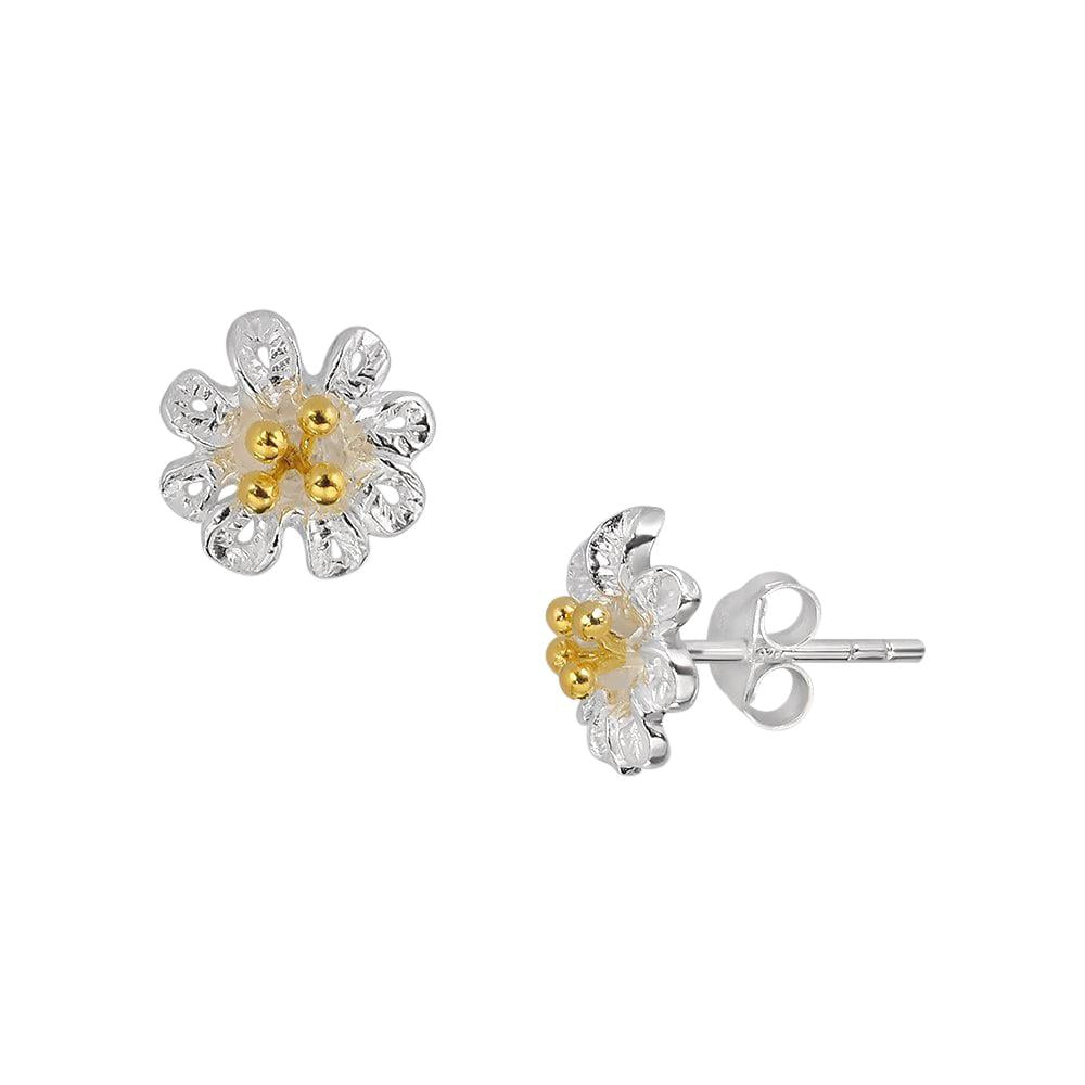 Two Tone Flower Stud