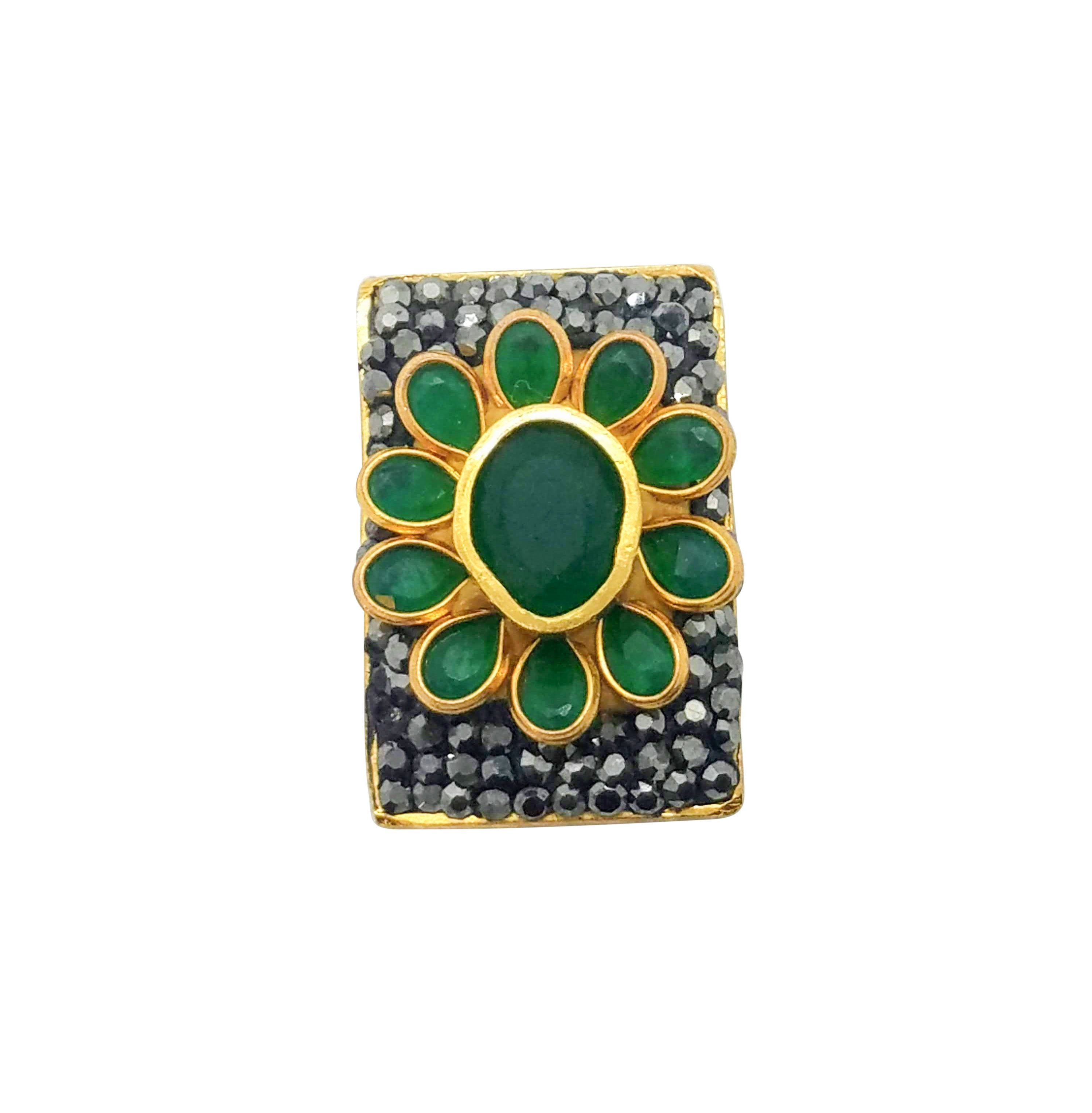 Emerald-and-Marcasite-Pin