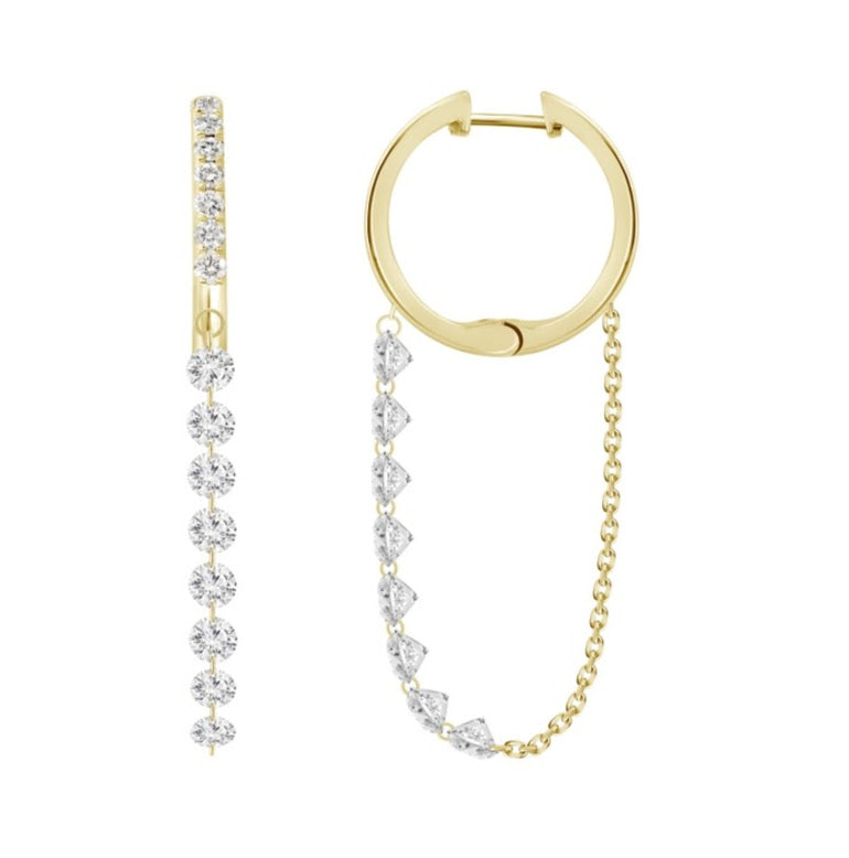 Round Diamond Hoop Dangles