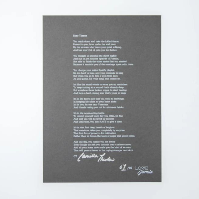 Hand-signed Poetry Print
