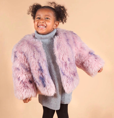 Morocco Faux Fur Coat Custom Dyed in Cotton Candy