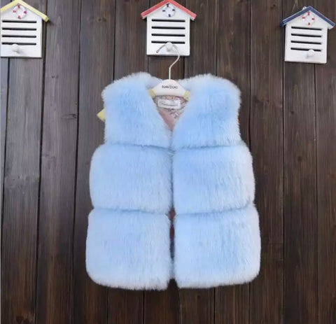 Mykonos Faux Fur Vest in Powder Blue