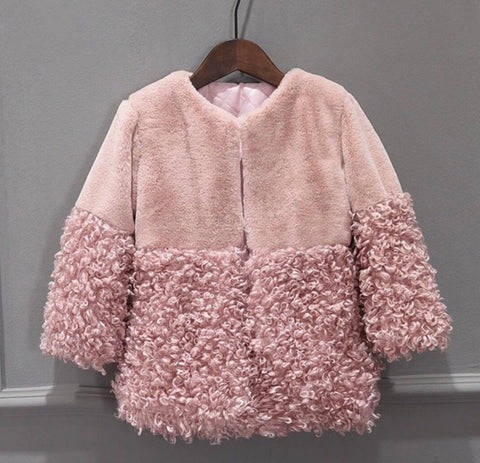 Panama Faux Fur Coat w/ Shearling Trim