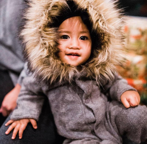 Moscow Hooded Knit Onesie with Faux Fur Trim