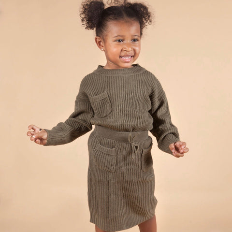Madison 2 Piece Knit Set in Olive