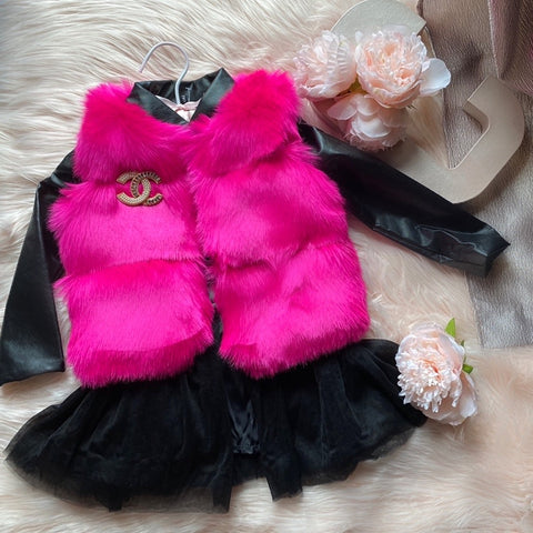 Mykonos Faux Fur Vest in Fierce Fuchsia