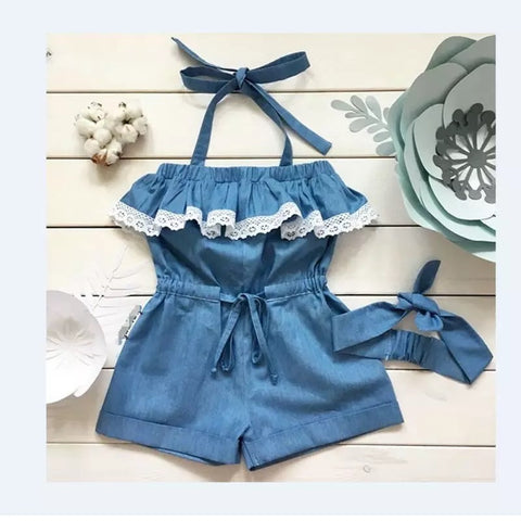 Phoenix Denim Lace Romper