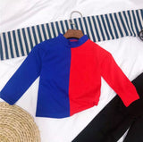Bedstuy Crop Top in Blue/Red