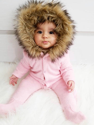 Moscow Hooded Pink Knit Onesie with Faux Fur Trim