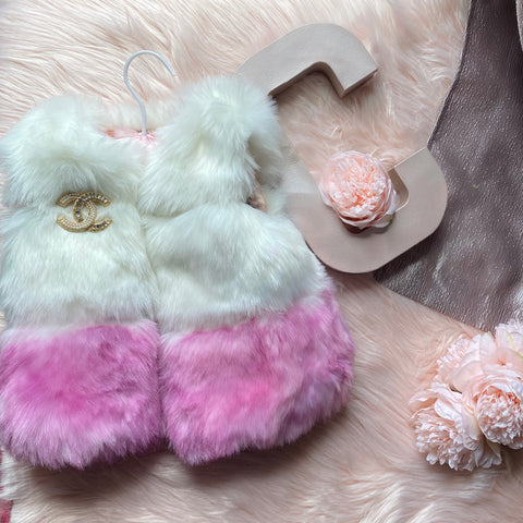 Mykonos Faux Fur Vest in White w/Custom Dip Pink