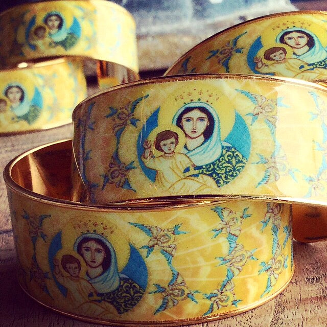 New Magnificat Sacred Icon Cuff from My Saint My Hero and Iconographer Vivian Imbruglia