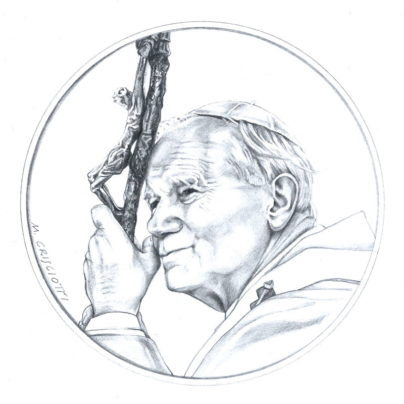 sketch of Pope John Paul for front of medal