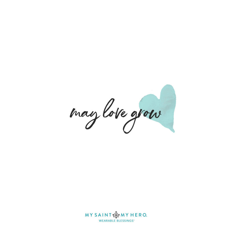 may love grow (script text with heart)