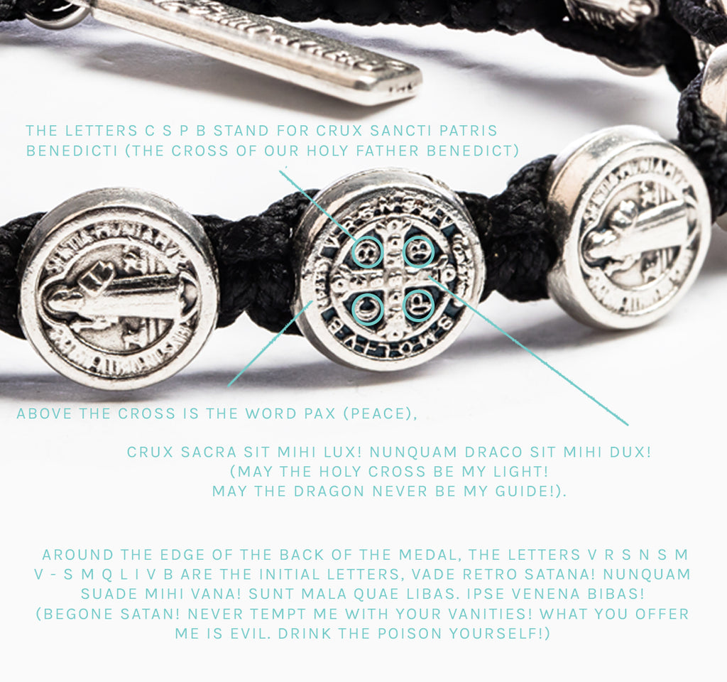benedictine medals of protection in a woven bracelet