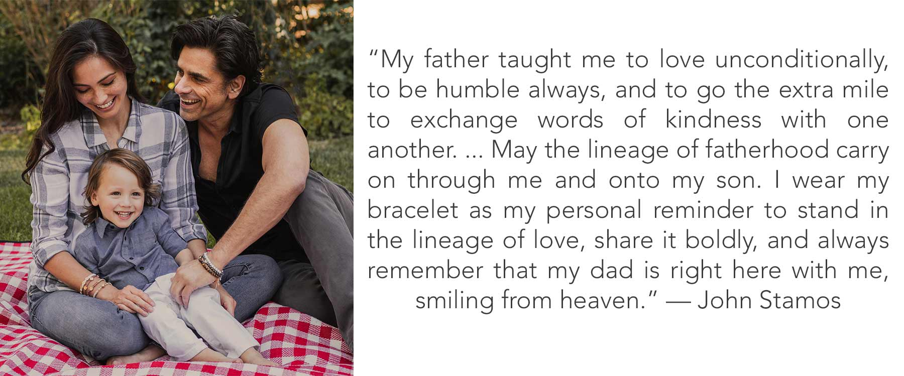 Caitlin, Billy and John Stamos with a quote from John about the lessons he learned from his father