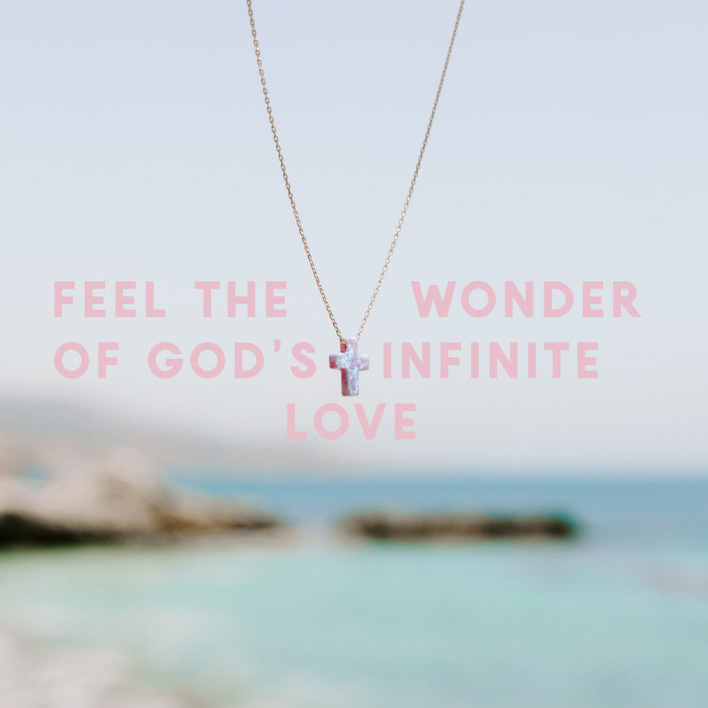 Feel the Wonder of God's Infinite Love - text over blurred photo of ocean