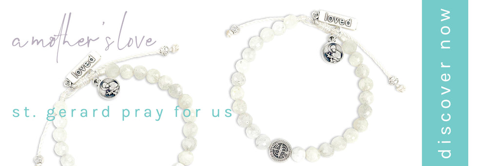 A Mother's Love Moonstone Fertility Bracelet with St. Gerard and St Amos Medals
