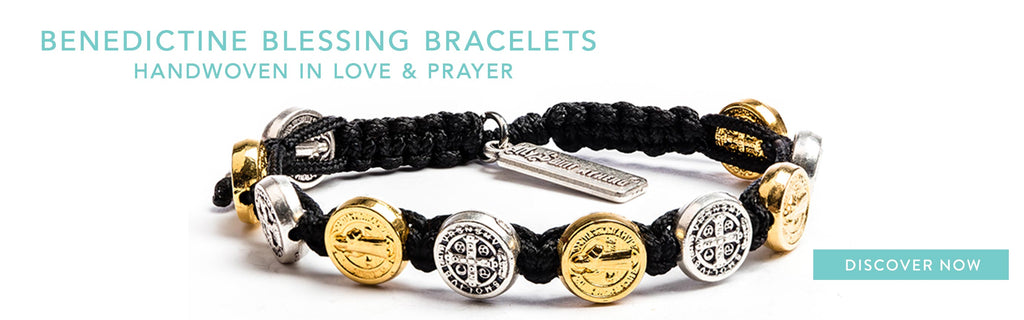 Handwoven Benedictine Blessing Bracelet with gold and silver tone St. Benedict Medals and Black Cording