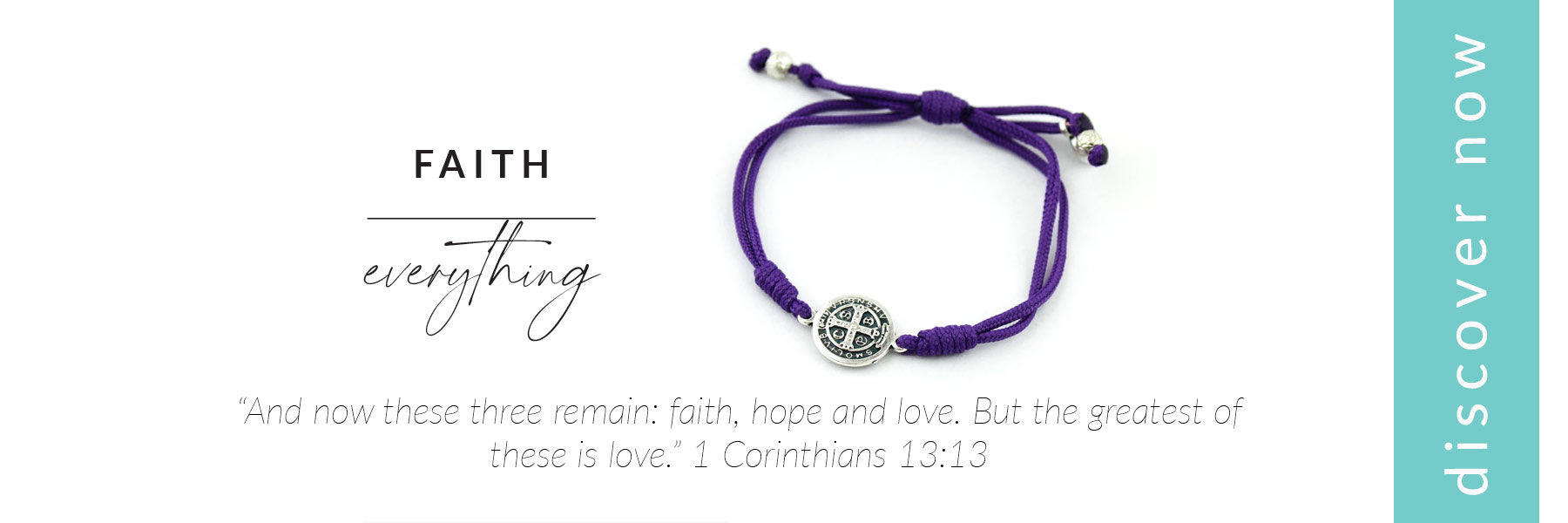 link to Faith Over Everything Purple Benedictine Alzheimers Awareness Bracelet