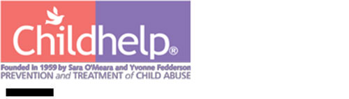 Childhelp text logo white text on pink and purple blocks