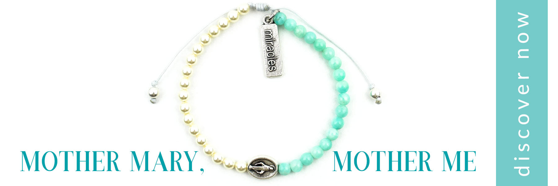 My Saint My Hero Mother Mary Mother Me Blessing Bracelet Pearls and Amazonite with the words discover now