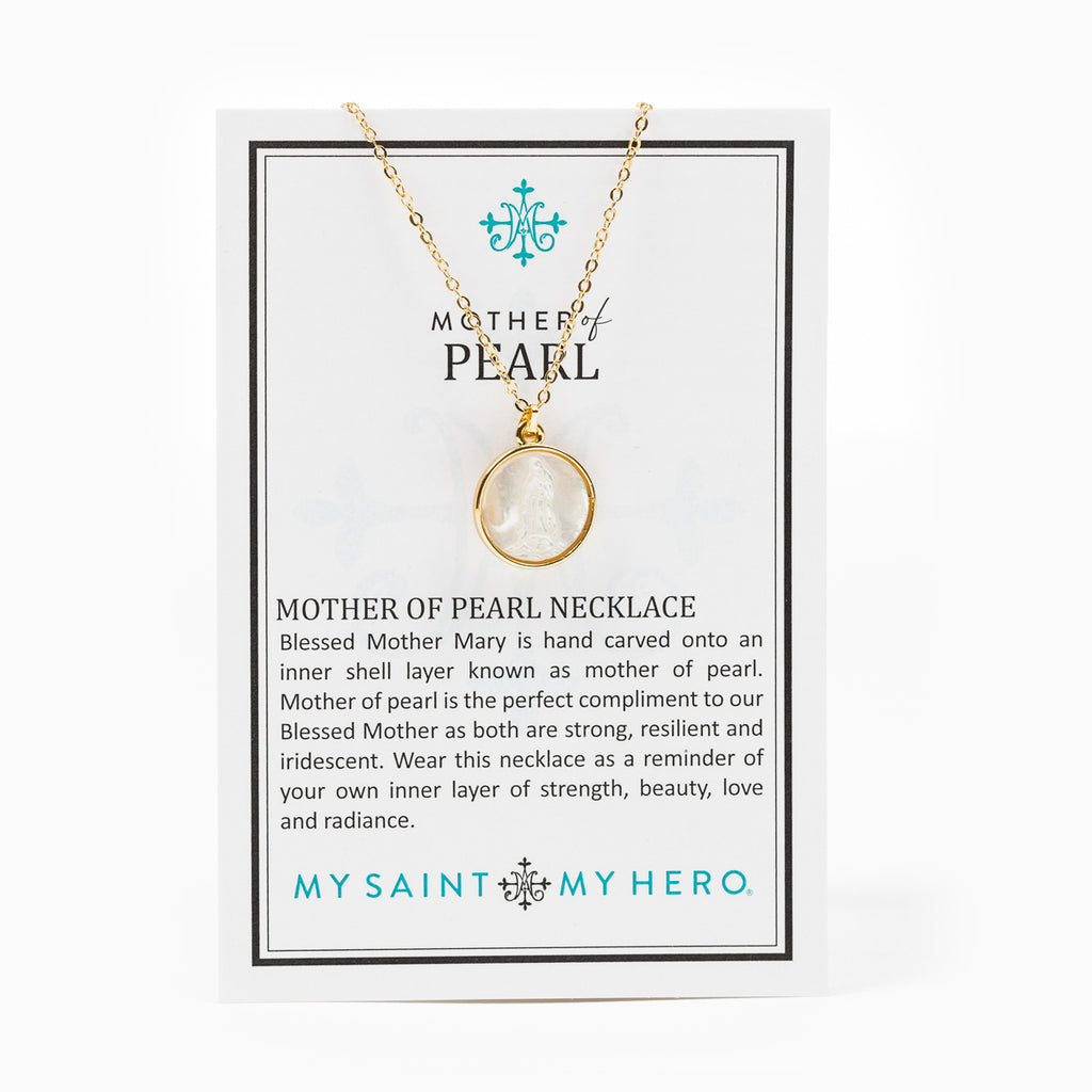 Mother of Pearl Mother Mary Necklace on Inspirational Card