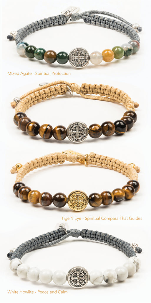 Wake Up and Pray bracelets with stone beads and medal variations - Tiger Eye, Howlite, Mixed Agate with gold or silver medals