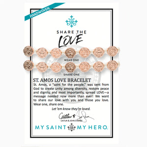 Share the Love St. Amos Love Bracelet Set - White/Rose Gold on Card Written by John and Caitlin Stamos