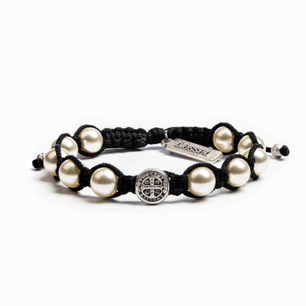 Divine Blessings Silver/White Pearl Bracelet