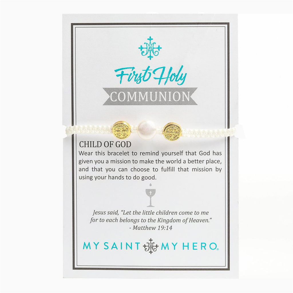 First Holy Communion Blessing Bracelet - Pearl