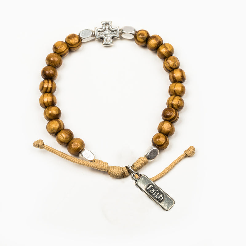 Rooted in Faith Wooden Bead Blessing Bracelet