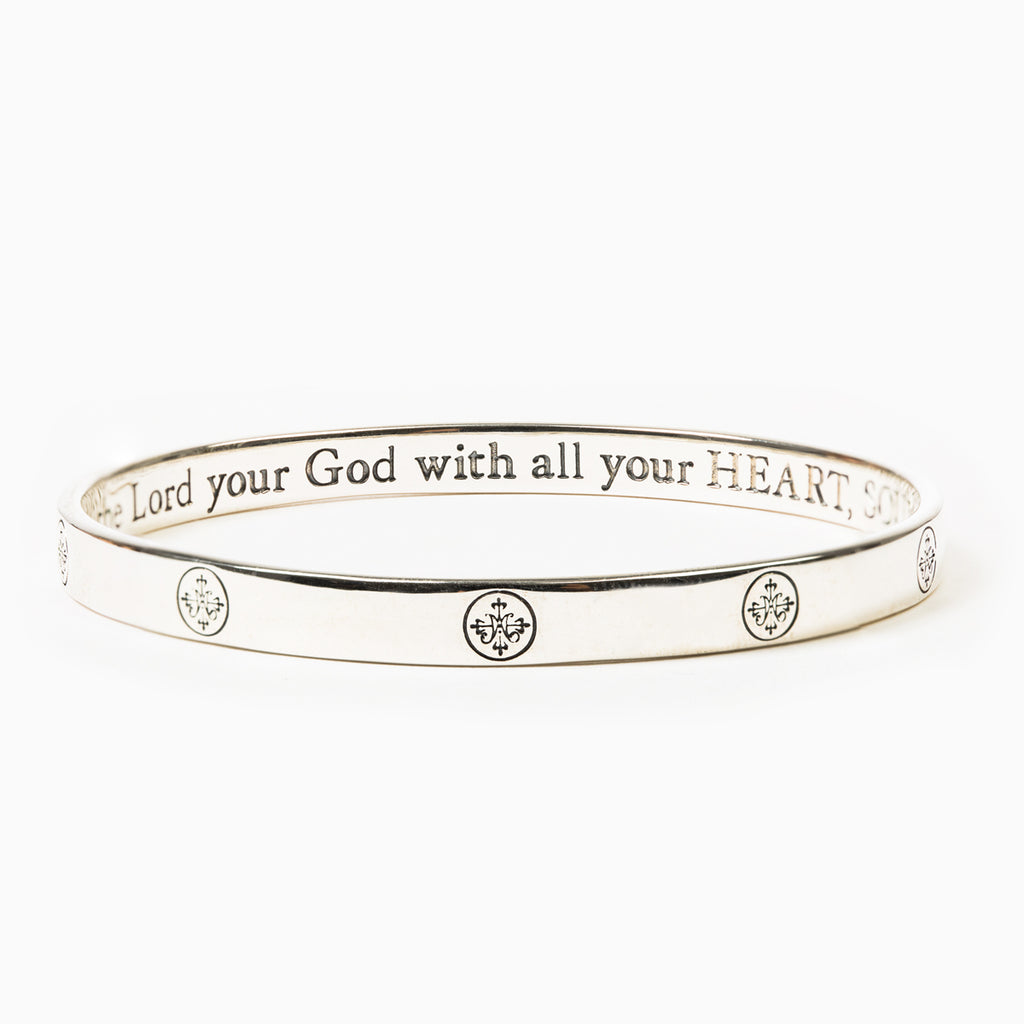 Greatest Love Deuteronomy 6:5 Bangle - Sterling Silver
