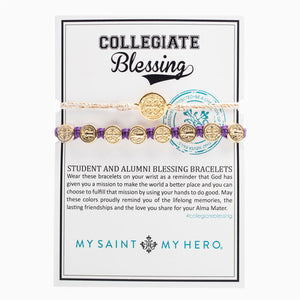 Collegiate Blessing Bracelet Metallic Gold Serenity Purple Benedictine 
