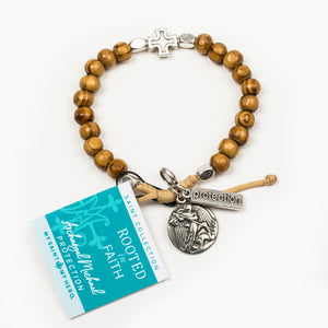 Rooted in Faith Olive Wood Blessing Bracelet with Saint Medal, Archangel Michael