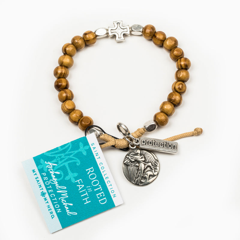 Rooted in Faith Olive Wood Blessing Bracelet with Saint Medal