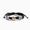 Handwoven First Holy Communion Blessing Bracelet Black Cording Gold and Silver Tone Medals