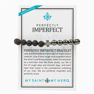 Perfectly Imperfect Hematite and Lava Bead Handwoven Bracelet with Silver Tone Cross Medal on Inspirational Card