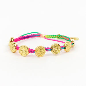 Seven Blessings for a New Day Rainbow Woven Bracelet in Gold Tone