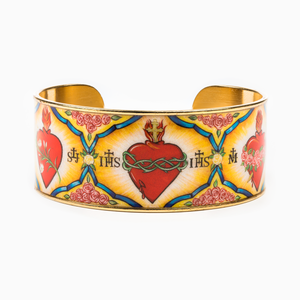"Holy Family Everlasting Heart of God Cuff Bracelet  -Holy Family Cuff features an image designed for My Saint My Hero by Icon Artist Vivian Imbruglia. Epoxy printed gold plated cuff. 1"" height, 2.4"" x 1.75"" interior dimension."