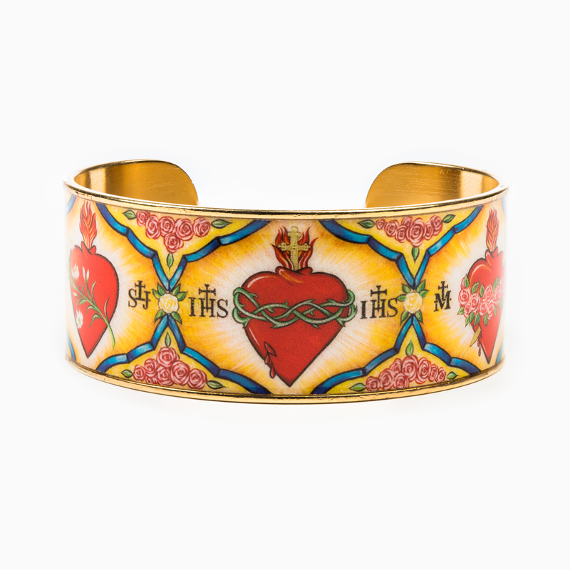 Holy Family Everlasting Heart of God Cuff Bracelet  -Holy Family Cuff features an image designed for My Saint My Hero by Icon Artist Vivian Imbruglia. Epoxy printed gold plated cuff. 1
