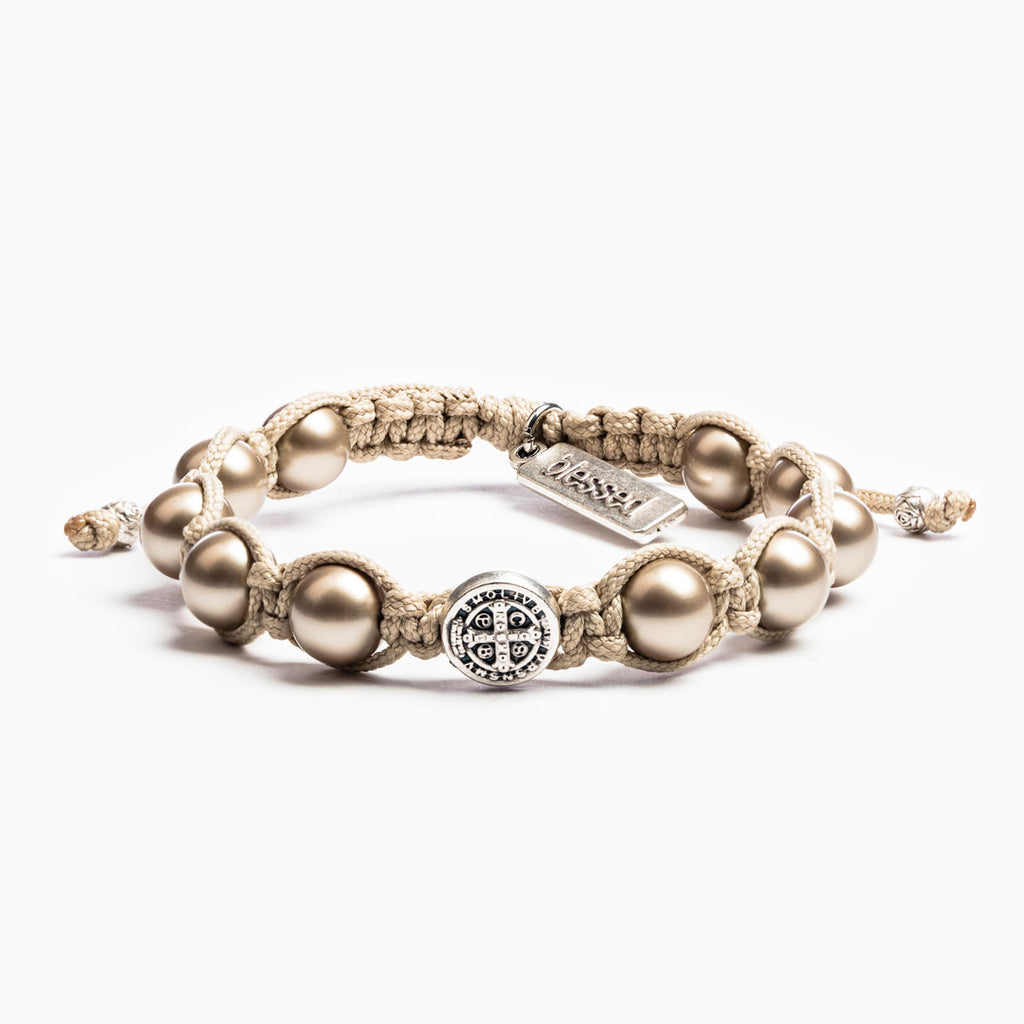 Divine Blessings Pearl and Benedictine Medal of Protections handwoven bracelet in with platinum pearls and silver tone medal