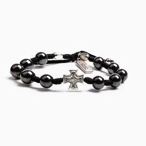 Honor Blessing Bracelet - Hematite Beaded Handwoven Men's Bracelet with Silver Tone Cross