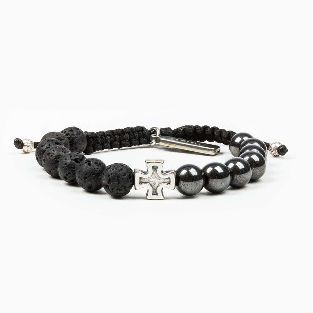Perfectly Imperfect Hematite and Lava Bead Handwoven Bracelet with Silver Tone Cross Medal