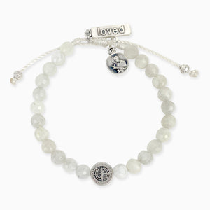 St. Amos Share the Love John Stamos Caitlin McHugh Fertility Blessing Bracelet Moonstone Gemstones St. Gerard Loved Medal Handwoven Cord