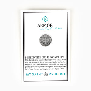 Armor of Protection Benedictine Cross Pocket Pin on Inspirational Card