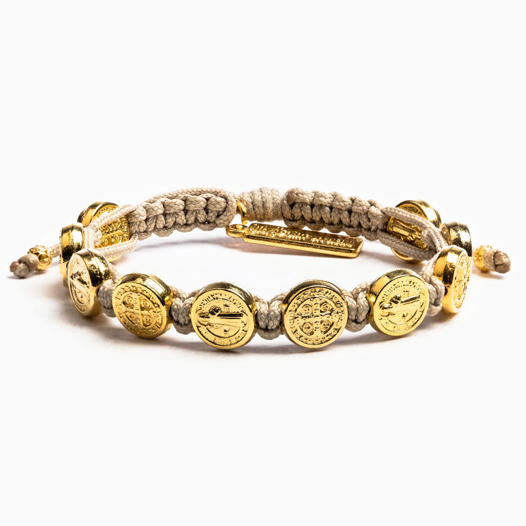 Benedictine Blessing Bracelet with gold Saint Benedict Medals and Woven Tan Cording
